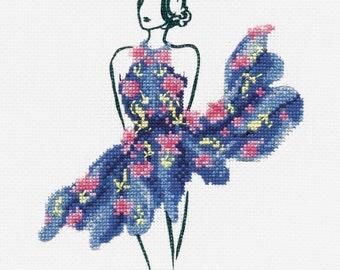DMC Fashion Cross Stitch Kit // Fashion Style // Complete Cross Stitch // Tutu Blue Cross Stitch // Fashion Illustration // Fashion Kits