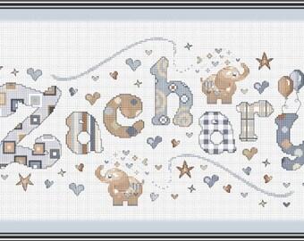 Elephant Neutral Name Sampler// Elephant Name Cross Stitch // Name Sampler // Balloons Boys Personalized Cross Stitch Name Sampler