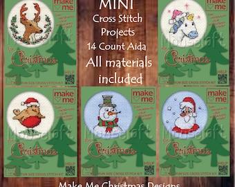Mouseloft // Mini Robin Christmas Cross stitch // Unicorn Cross stitch // Stag // Snowman // Santa Cross Stitch // Small Beginners Kits