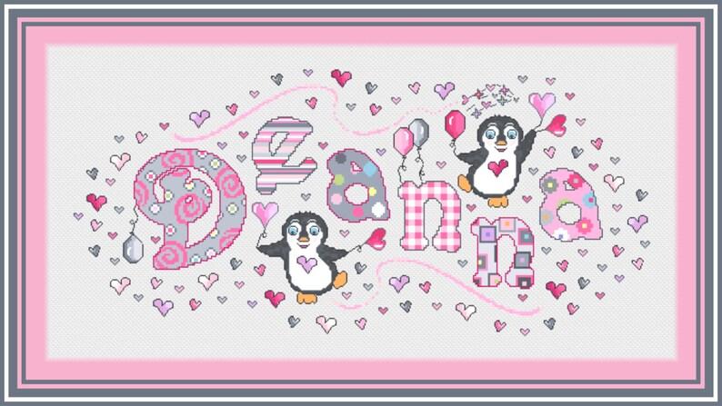 Penguin Girls Name Sampler Penguin Name Cross Stitch  Name Sampler  Balloons Girls Personalized Cross Stitch Name Sampler