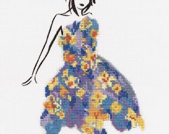 DMC Fashion Cross Stitch Kit // Fashion Style // Complete Cross Stitch // Daffodil Dance Cross Stitch // Fashion Illustration // Kits