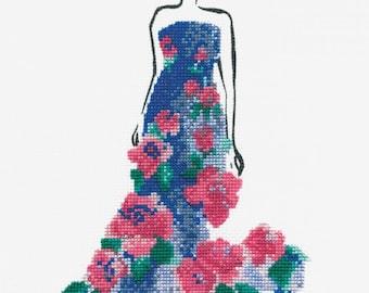 DMC Fashion Cross Stitch Kit // Fashion Style // Complete Cross Stitch // Rose Ball Cross Stitch // Fashion Illustration // Fashion Kits