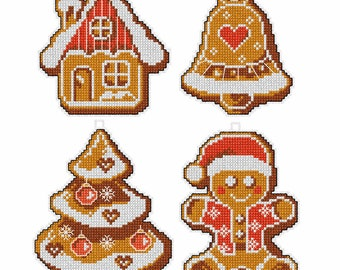 4 x Christmas Decorations// Christmas Gingerbread Cross Stitch // Christmas Tree Decor // Ginger Bread House // Small Cross Stitch Kits //