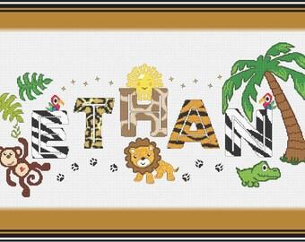 Safari Jungle Boys Nameplate Sampler// Name Cross Stitch // Name Sampler // Personalized Wild Animals Cross Stitch Nameplate Sampler