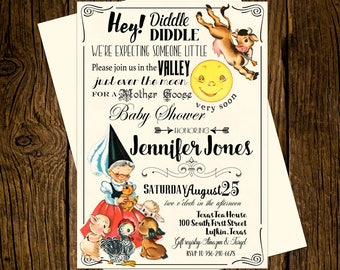 Mother goose invite etsy mother goose baby shower invitations personalized custom printed set of 12 party invites vintage ecru nursery rhyme hey diddle diddle filmwisefo
