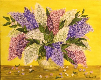 """Lilacs in vase-Flowers- 41cmX33cm(16""""x13"""" approx.)-Original Paiting-Oil on Canvas-Handmade Paiting by Silvia Dimova"""