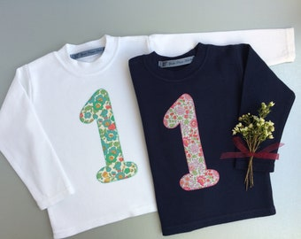Baby girl 1st birthday outfit, liberty 1st birthday tee, girls personalised shirt, 2nd/3rd/4th/5th birthday tshirt, liberty applique top