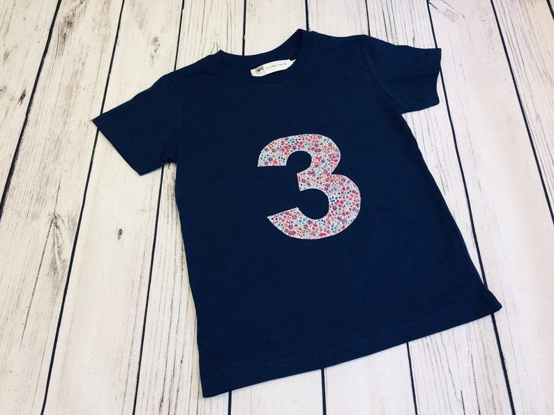 Liberty Print Baby Childrens Birthday Tee T Shirt