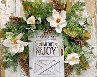 Farmhouse Christmas wreath with magnolias, farmhouse pinecone wreath, comfort and joy wreath, white magnolia Christmas