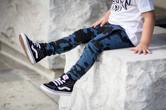 fb17efcf7cb7 Blue camo joggers for boys   Cool baby boy clothes  Trendy