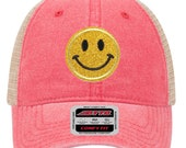 Yellow Glitter Smiley Face Embroidered Patch COMFY FIT 6 Panel Low Profile Mesh Back Trucker Hat - For Men and Women