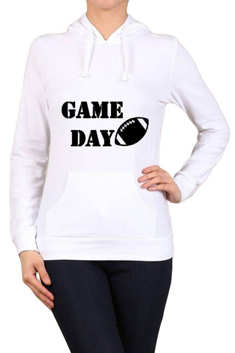 S-XL Womens Regular Game Day with Football Graphic Kangaroo Pocket Hooded Long Sleeve Cotton Spandex Sweatshirt hr-016-tp