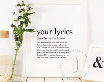 Rap lyrics wall art, Rap poster, Hip hop art, Rap quotes wall art, Rap gifts, Hip hop gifts for men, Custom lyrics print, DIGITAL FILE