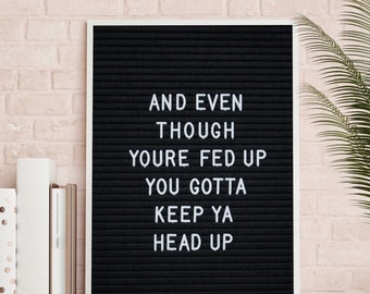 You gotta keep Your head up hip hop wall art sticker decal 215 Tupac quote Even though You/'re fed up