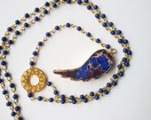 rosario long necklace,blue,gold plated edge agate slice angel wing ,lucky charm,blue tassel,pendant,beaded necklace, angel wing,rosario