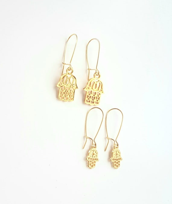 Hamsa Eye Gold plated handmade Earringsmother/'s day  Mothers Day Gift Fatima s Hand