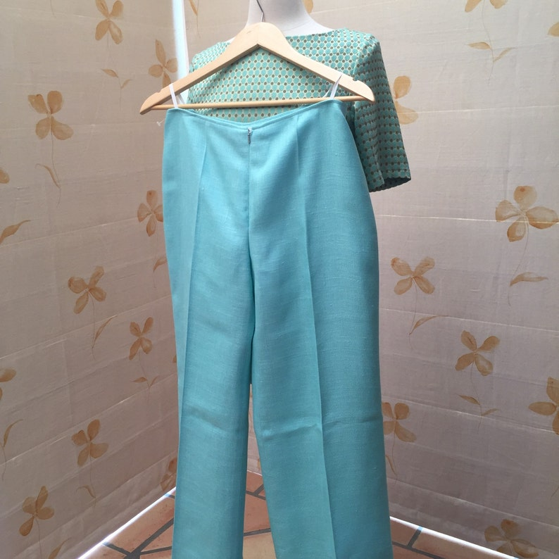 Courreges 1970s vintage pure linen trousers new old stock x 2