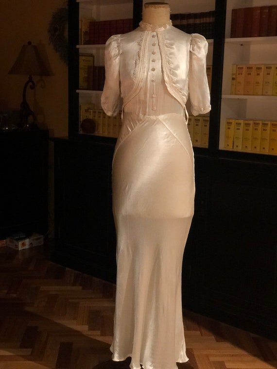 1930s silk satin bride dress