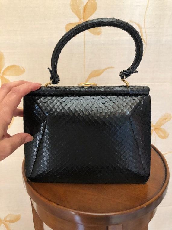1940s small kelly style snakeskin handbag - image 1