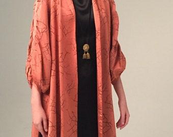 1930s vintage heavy satin opera coat multiple design lines and tucks