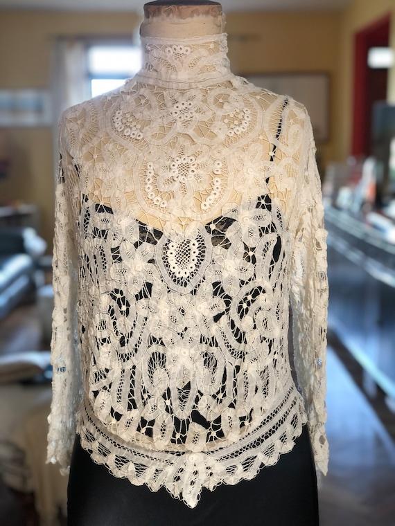 1910s Battenburg lace and Irish lace blouse