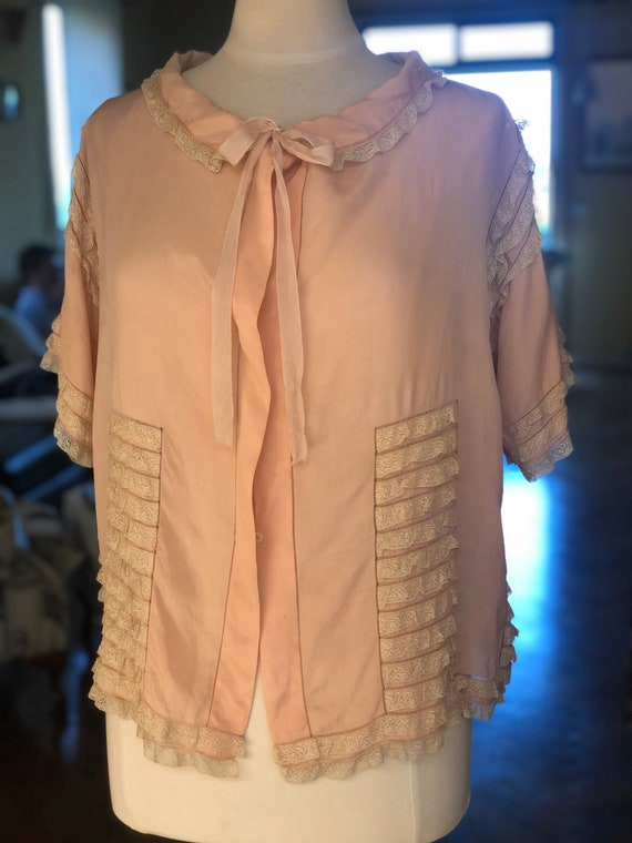 1930s silk and lace ruffle boudoir jacket