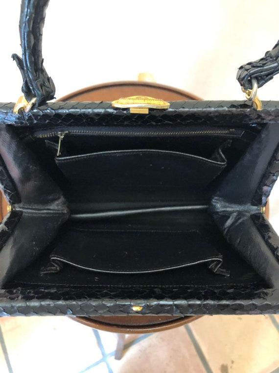 1940s small kelly style snakeskin handbag - image 8