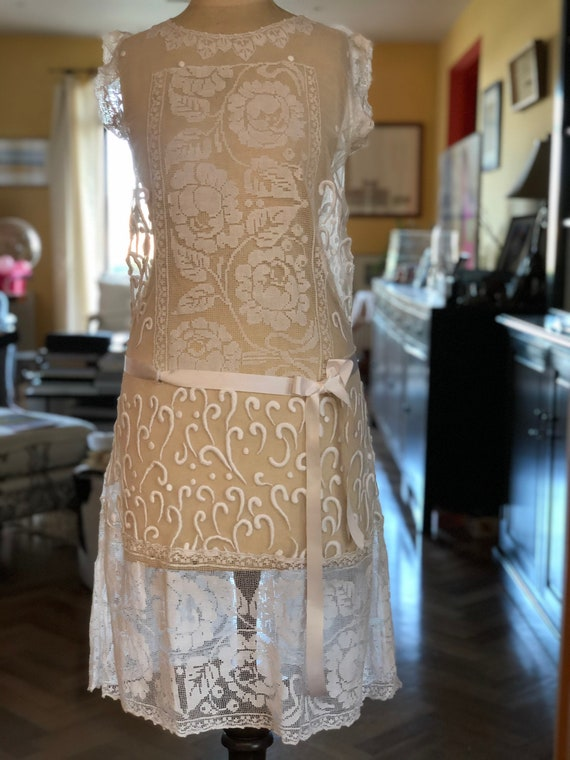 1920s embroidered tulle and filet lace tea dress