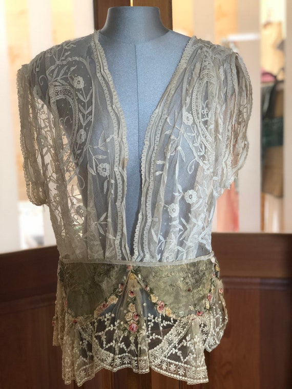 Antique Brussels lace and gold lamè top