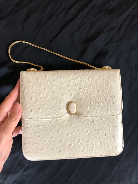 1950s vintage ostrich leather evening purse
