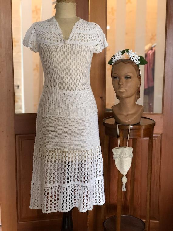 1970s white hand crochet skirt and top
