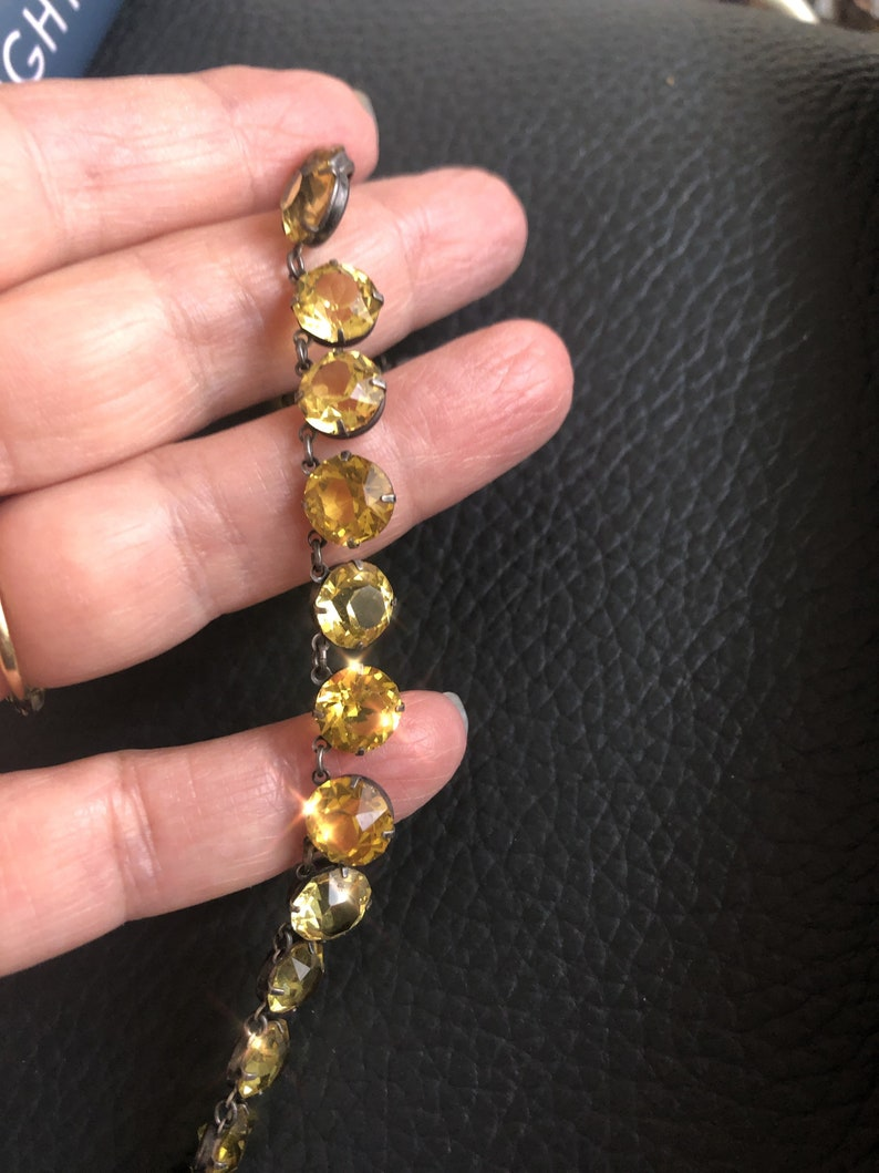 Antique round cut topaze rhinestone riviere necklace