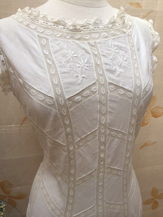 Rare Edwardian cotton lawn and lace chemise gown | Etsy