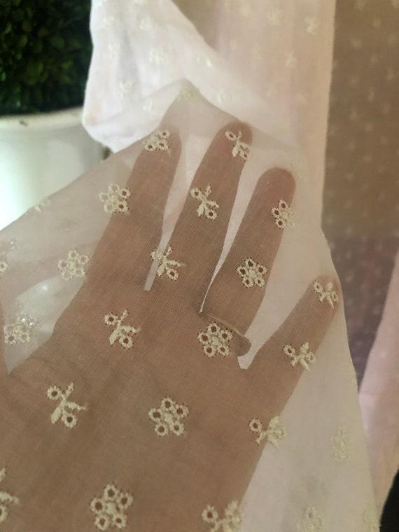 1930s eyelet silk organza gown with wristlet glov… - image 8