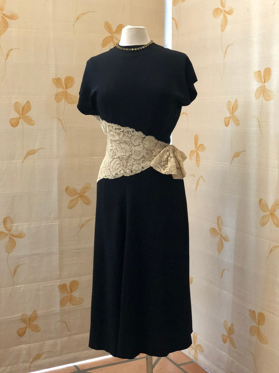 1940s moss crepe and lace cocktail dress