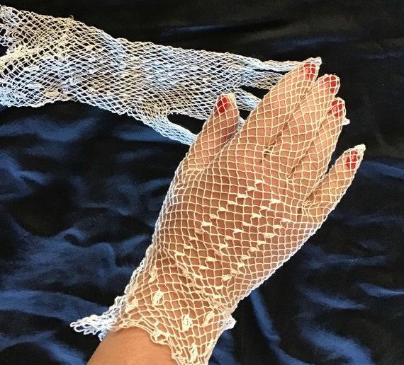 Rare 1910's woven cotton fishnet wedding gloves