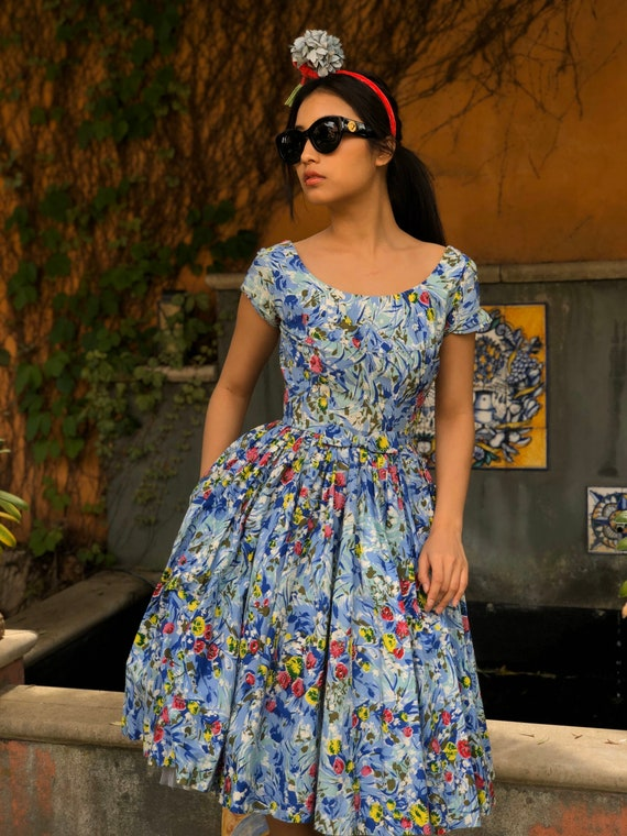 1950s floral cotton fit and flare frock