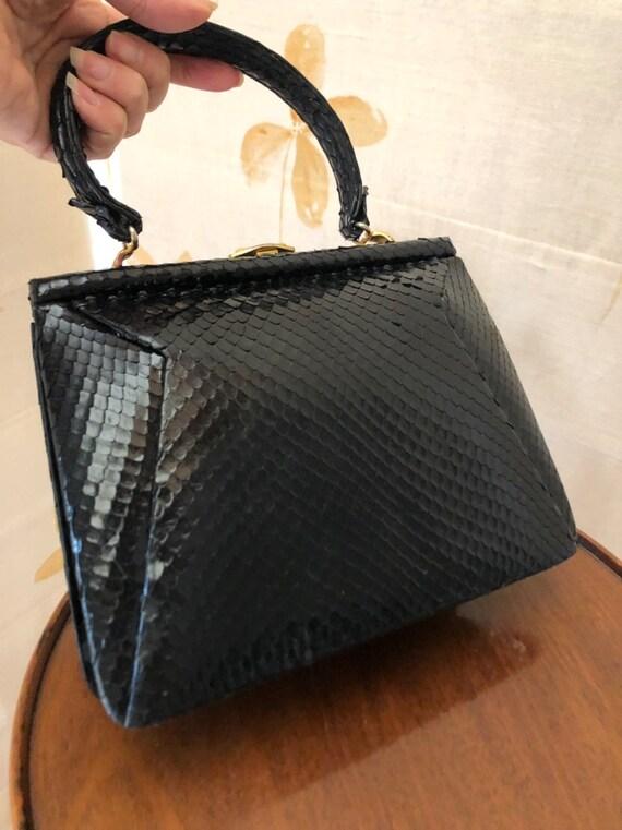 1940s small kelly style snakeskin handbag - image 2