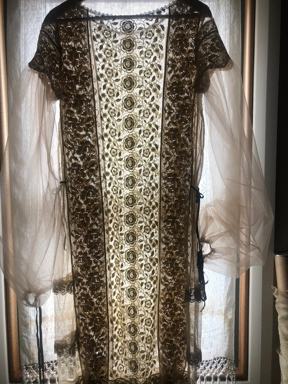 1920s mixed embroidered lace dress with tulle puff