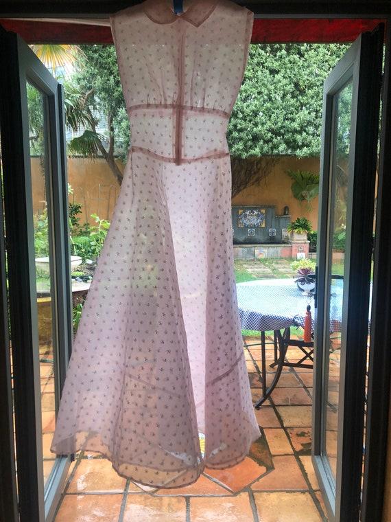 1930s eyelet silk organza gown with wristlet glov… - image 6