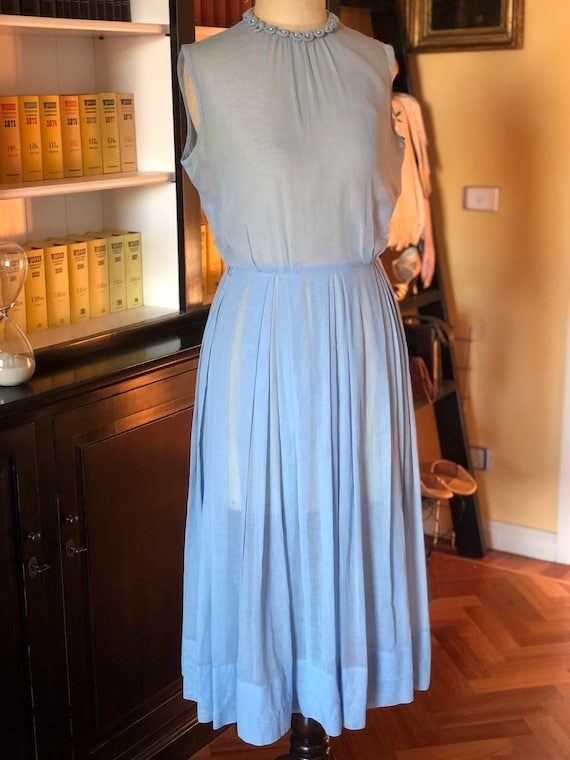 1950s ice blue organdy frock