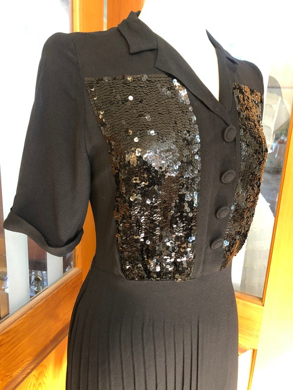 1940s sequinned crepe cocktail dress