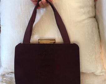 1940s vintage chocolate brown suede handbag and coin purse
