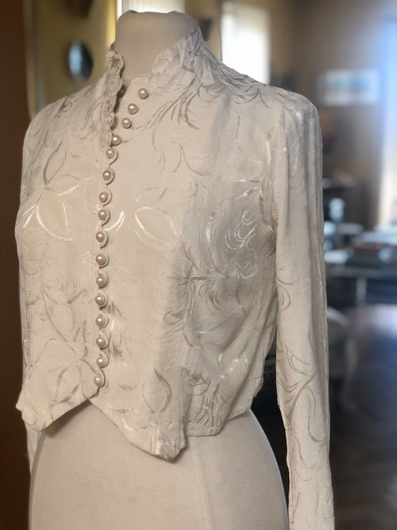 1940s embossed silk crepe bolero has jacket
