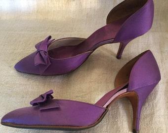 1950s vintage purple satin stilettos