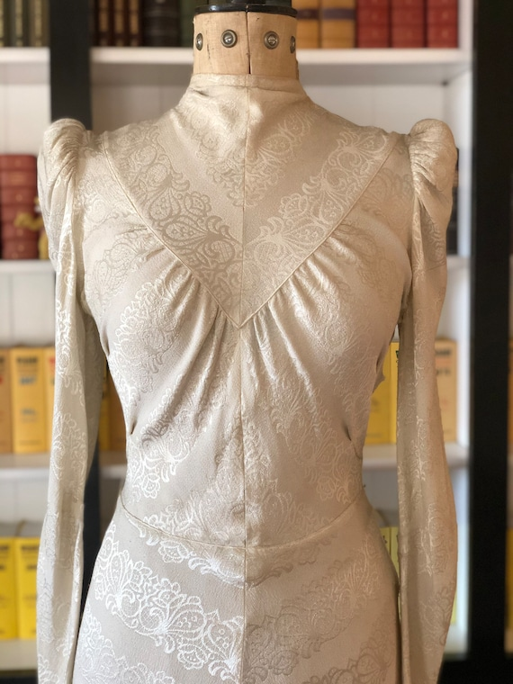 1930s liquid silk jacquard crepe wedding dress