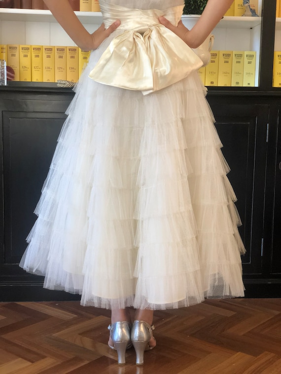1950s old store stock tulle bride dress