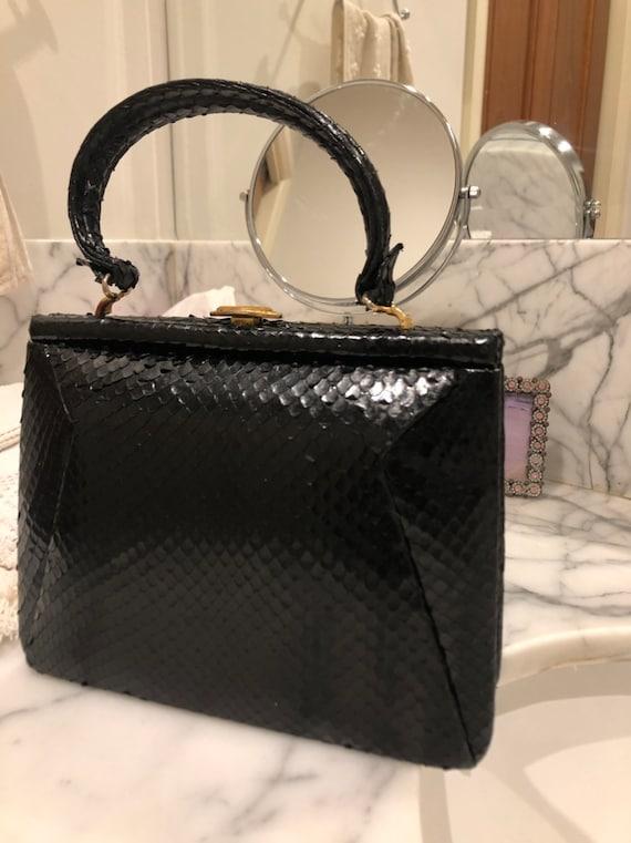 1940s small kelly style snakeskin handbag - image 3