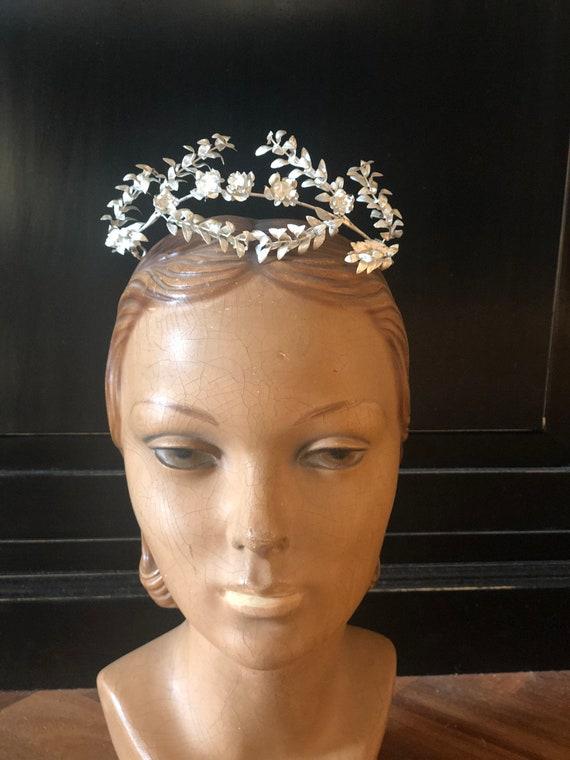 Antique German silver myrtle tiara corona