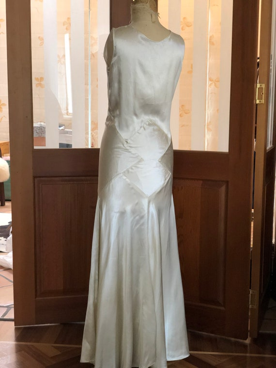 1930s liquid satin bride dress.